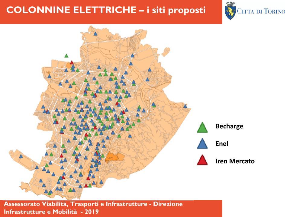 Mappa colonnine elettriche a Torino